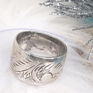 Vtg Sterling Etched Scroll Swirl Cigar Band Ring